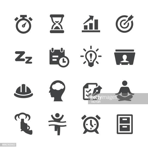 illustrations, cliparts, dessins animés et icônes de la productivité icons set - acme série - stress