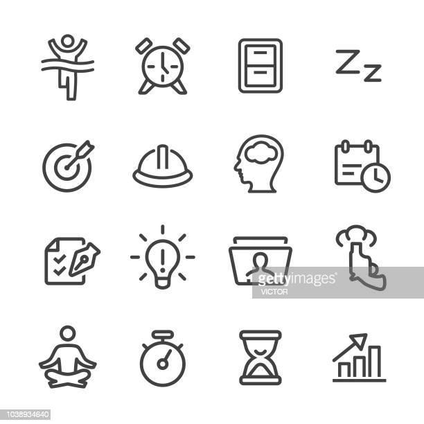 productivity icons set - line series - rolodex stock illustrations, clip art, cartoons, & icons
