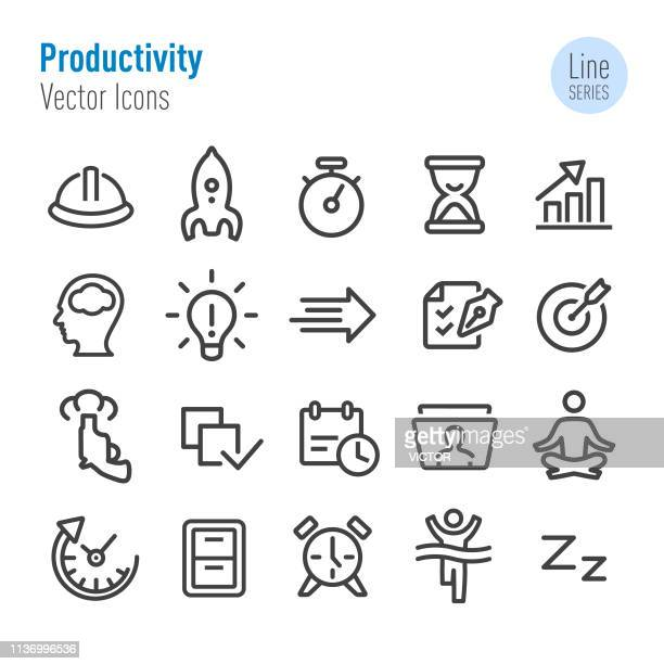 productivity icons set - vector line series - rolodex stock illustrations, clip art, cartoons, & icons