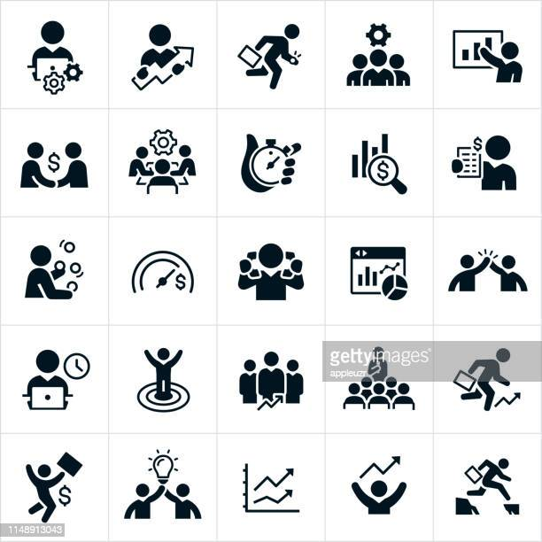 productivity icons - solutions stock illustrations