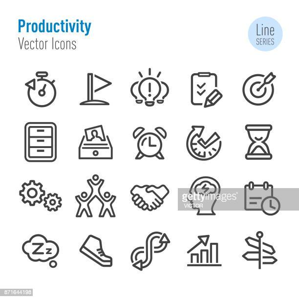 productivity icons - vector line series - contemplation stock illustrations, clip art, cartoons, & icons