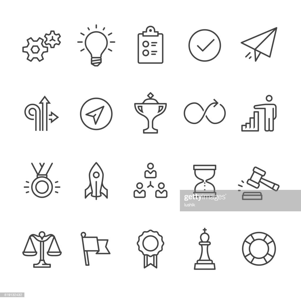 Productivity outline vector icons : stock illustration