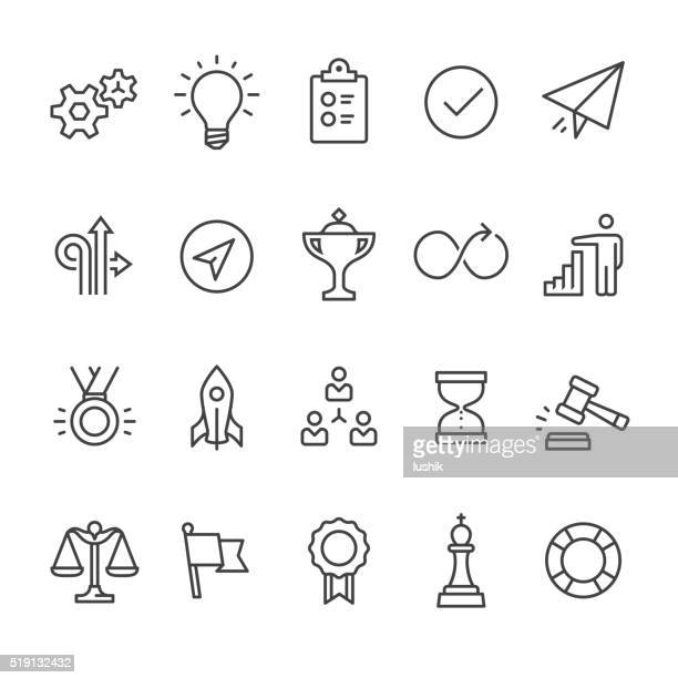 stockillustraties, clipart, cartoons en iconen met productivity outline vector icons - beslissingen