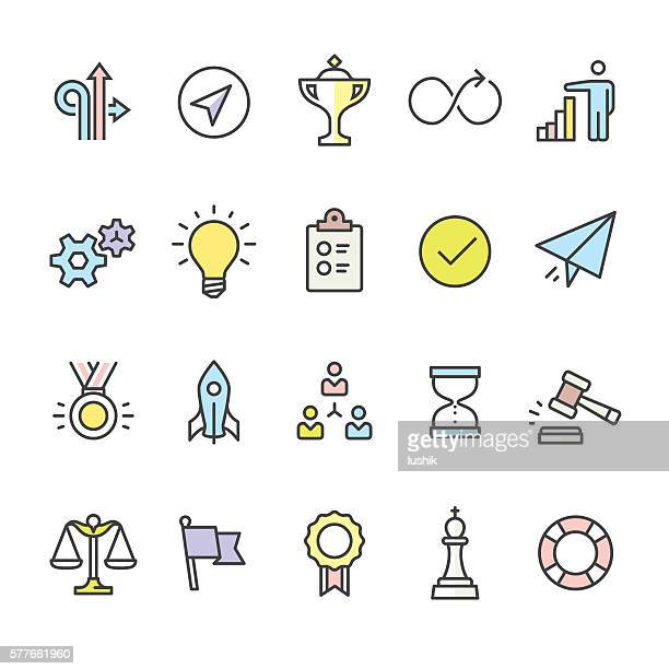 ilustraciones, imágenes clip art, dibujos animados e iconos de stock de productivity pack - outline color vector icons - rey pieza de ajedrez