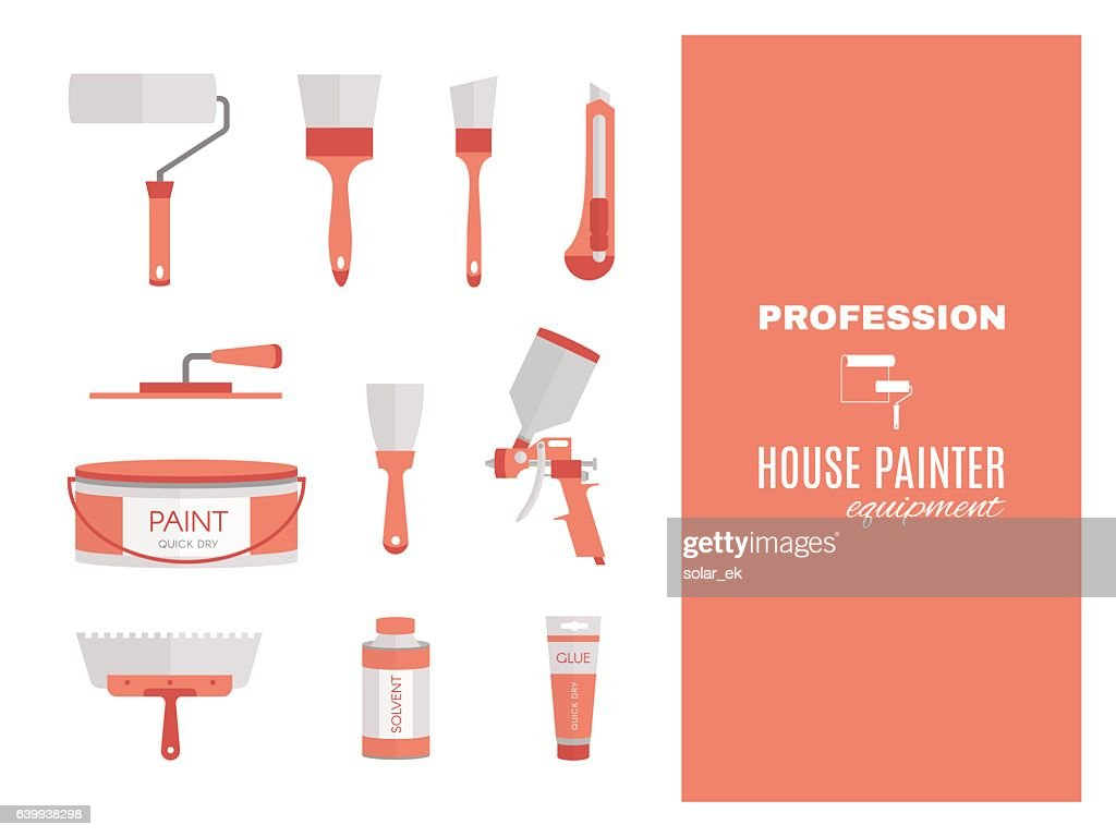 Profession - house painter. Repairing tools set. Flat decorative icons.