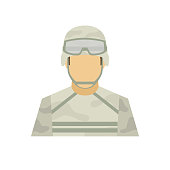 Profession soldier avatar icon. Male or female people character. Flat simple vector illustration.