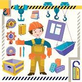 Profession the crane operator - illustration