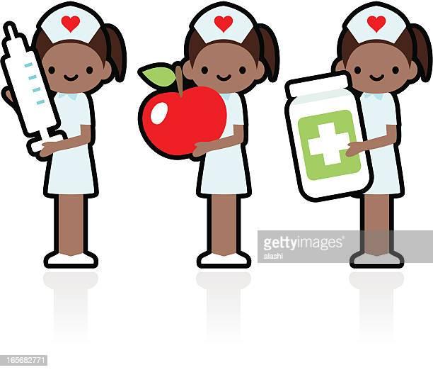 ilustraciones, imágenes clip art, dibujos animados e iconos de stock de profesional y amablemente sonriente enfermera sostiene la jeringa, apple, medicamento - asistente de enfermera