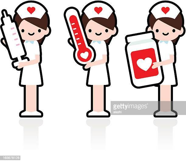 ilustraciones, imágenes clip art, dibujos animados e iconos de stock de profesional y amablemente sonriente enfermera sostiene la jeringa, termómetro, medicamento - asistente de enfermera