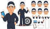 Professional auto mechanic cartoon character creation set.