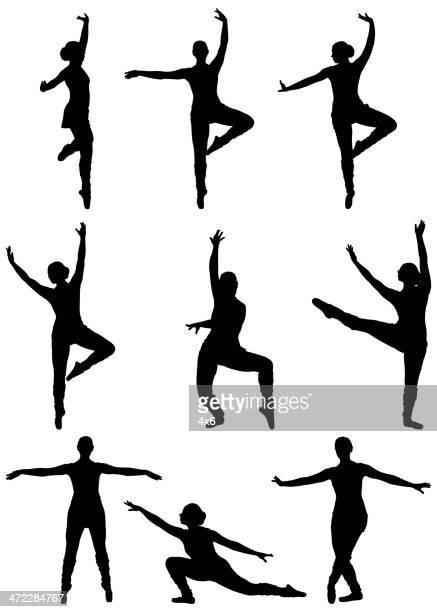 ilustraciones, imágenes clip art, dibujos animados e iconos de stock de profesional ballerina practicar movimientos de baile - zapatilla de ballet