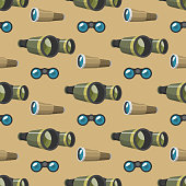 Professional camera lens binoculars glass look-see spyglass optics seamless pattern camera focus optical equipment vector illustration