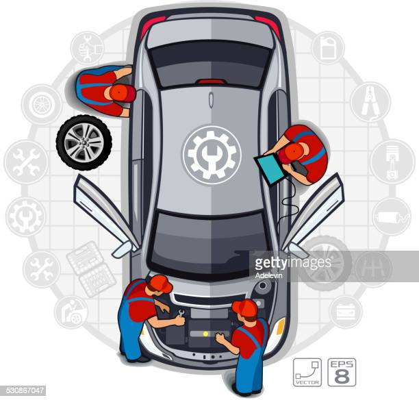 professional car repair - vehicle hood stock illustrations, clip art, cartoons, & icons