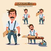professional carpenter in various action with typographic. caree
