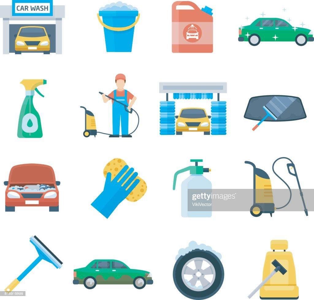 Professional carwash object colorful set