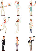 Professional chefs and restaurant staff. Happy cooks and waitress vector cartoon characters set