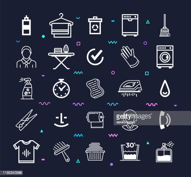 Professional Cleaning Service Provider Line Style Vector Icon Set