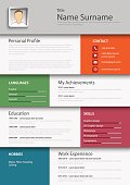 Professional colored resume cv template