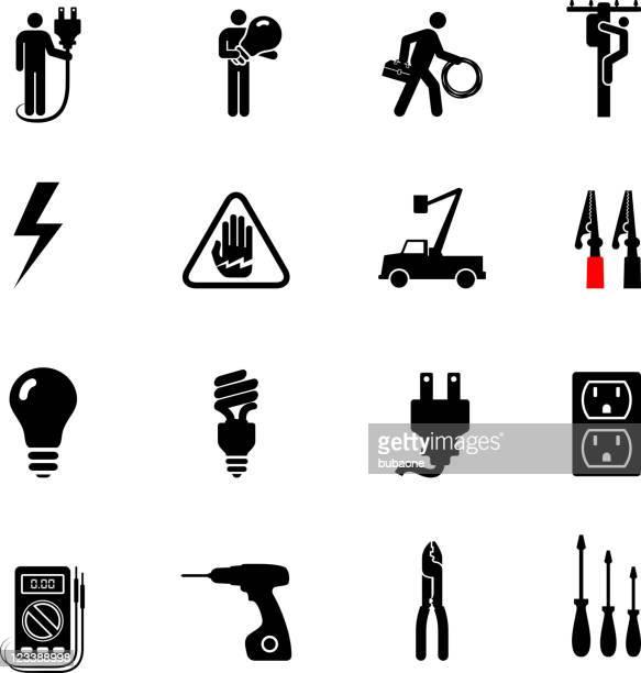 ilustraciones, imágenes clip art, dibujos animados e iconos de stock de electricista profesional blanco y negro sin royalties de conjunto de iconos vectoriales - electricista