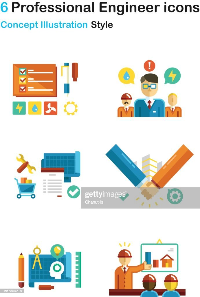 Professional Engineer Concept Icon Pack