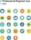 Professional Engineer Flat Icon Pack