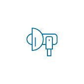 Professional flash linear icon concept. Professional flash line vector sign, symbol, illustration.