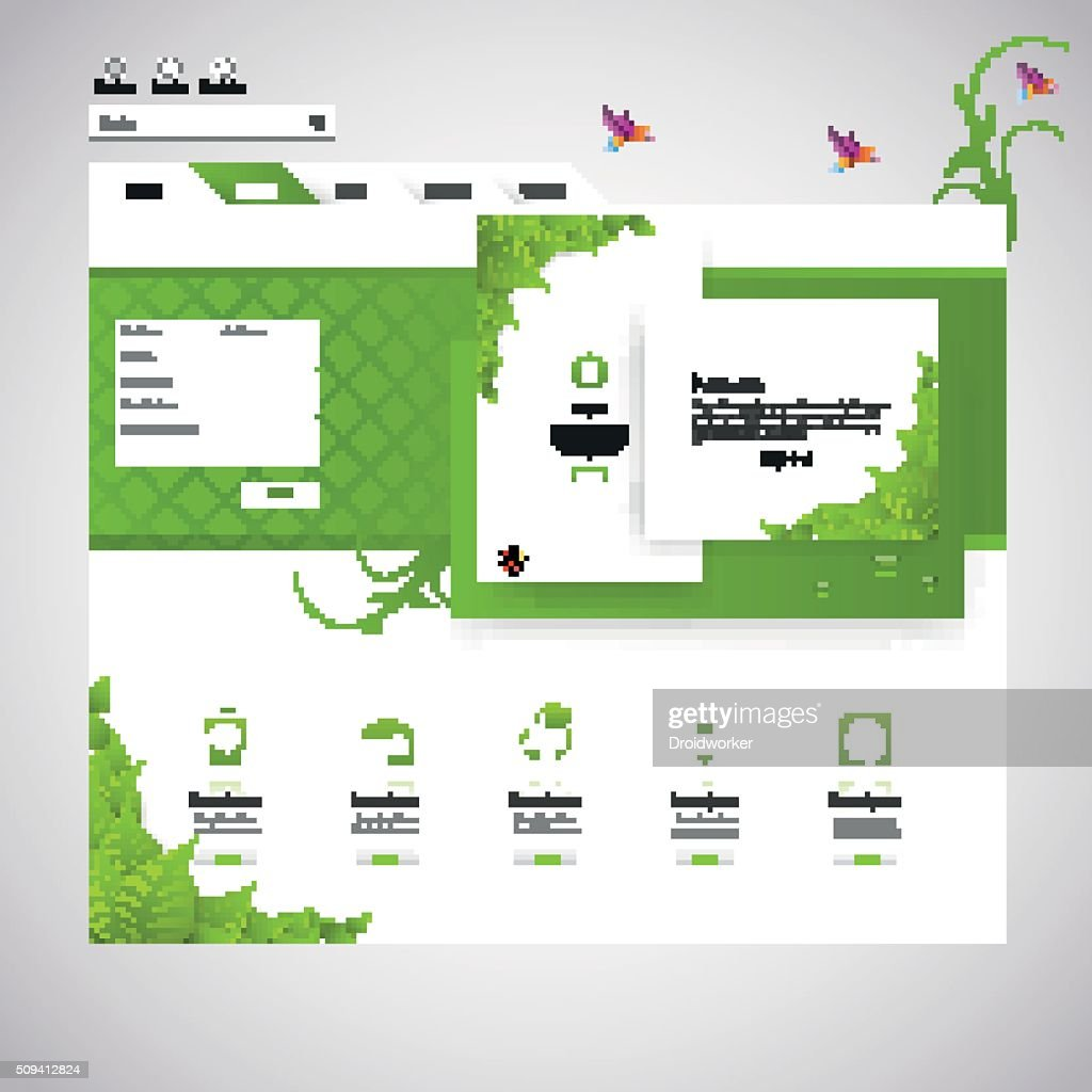 Professional Green Eco One Page Website Design Vector
