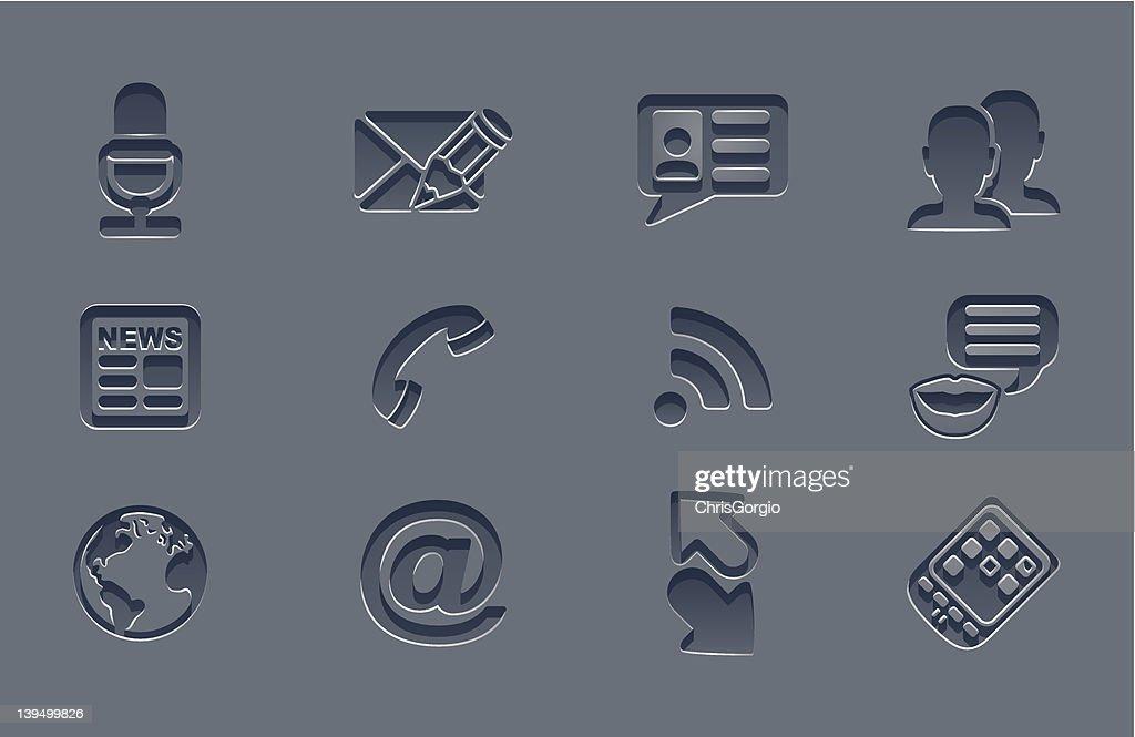 Professional grey communication icon set