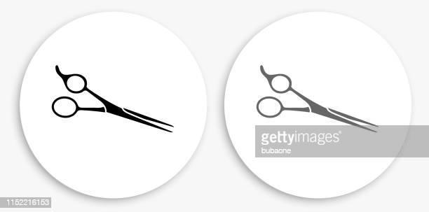 illustrations, cliparts, dessins animés et icônes de ciseaux de cheveux professionnels noir et blanc icône ronde - ciseaux de coiffeur