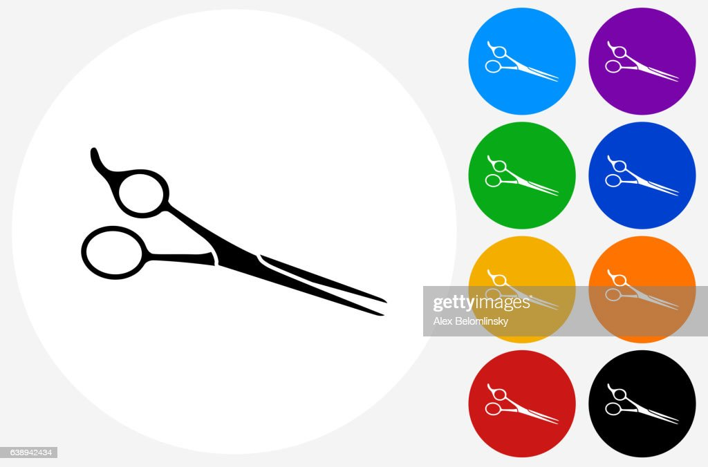 Professional Hair Scissors Icon On Flat Color Circle Buttons Vector