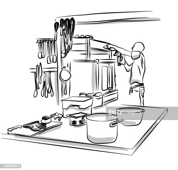 ilustraciones, imágenes clip art, dibujos animados e iconos de stock de trabajo de cocina profesional - industria alimentaria