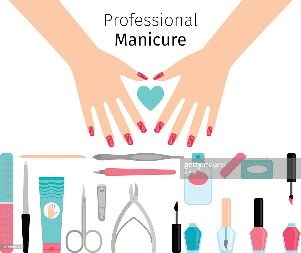 Professional manicure poster in flat style