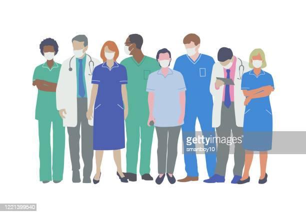 ilustrações de stock, clip art, desenhos animados e ícones de professional medical staff with face masks - cidadania
