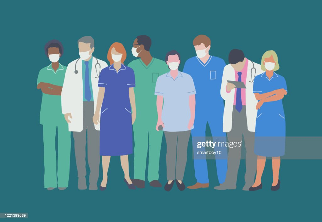 Professional Medical Staff with Face masks : stock illustration