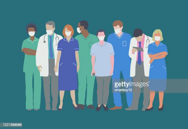 professional medical staff with face masks - retrovirus stock illustrations