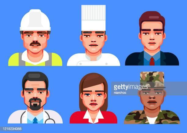 professional occupation avatars - military uniform stock illustrations