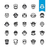 Professional occupations in hats - vector characters