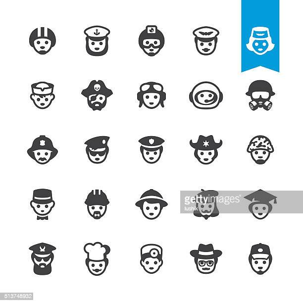professional occupations in hats - vector characters - special forces stock illustrations, clip art, cartoons, & icons