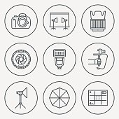 Professional Photography Circle Round Icon Set. Line Design Vector Illustrations.