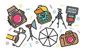 Professional Photography Concept Line Art Bright Colors Illustration.