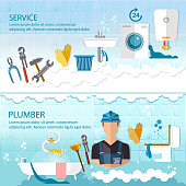 Professional plumber banner plumbing service different tools and accessories, pipe repair, elimination of leaks. Call plumber concept
