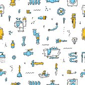 Professional plumber different tools and accessories. Seamless pattern.