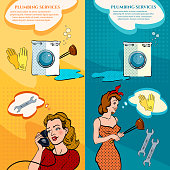 Professional plumber service banners housewife calls plumbing
