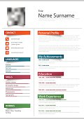 Professional resume cv with color stickers template vector