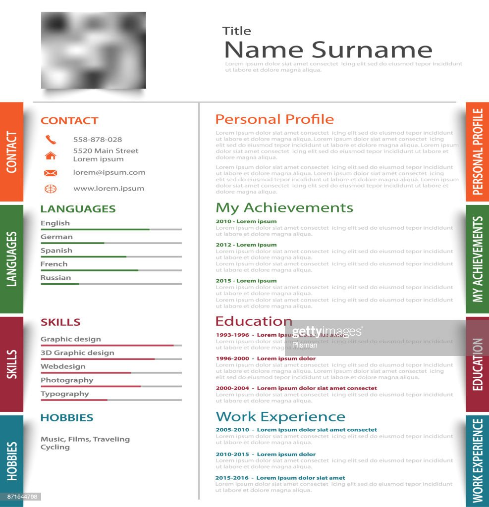 Professional Resume Cv With Colored Design Stickers Template Vector