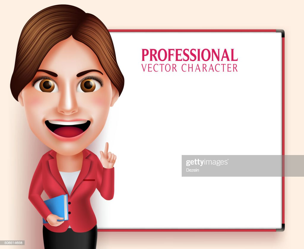 Professional School Teacher Vector Character Smiling while Teaching Lessons