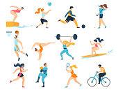 Professional Sport Activities. Men Women Sportsmen