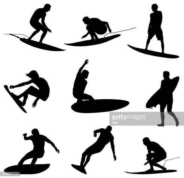 illustrations, cliparts, dessins animés et icônes de déferler sur les vagues, les surfeurs professionnels - surf
