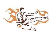 Professional Taekwondo Athlete Flying Kick
