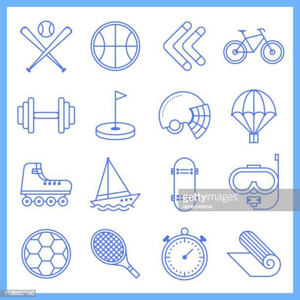 ilustraciones, imágenes clip art, dibujos animados e iconos de stock de equipo profesional de deportes de estilo blueprint vector conjunto de iconos - deporte de equipo